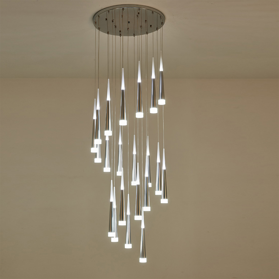 Lighting Basement Washroom Stairs: Modern Staircase Chandelier Ceiling Interior Lighting Long
