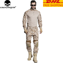 EMERSONGEAR Gen2 BDU Airsoft Combat Suit Tactical Shirt Pants with Elbow Knee Pads Military Hunting Clothes AOR1 EM6914