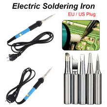 цена на 110/220V 60W Soldering Iron Adjustable Temperature Electric Solder Iron 5pcs Welding Iron Repair Tool US/EU