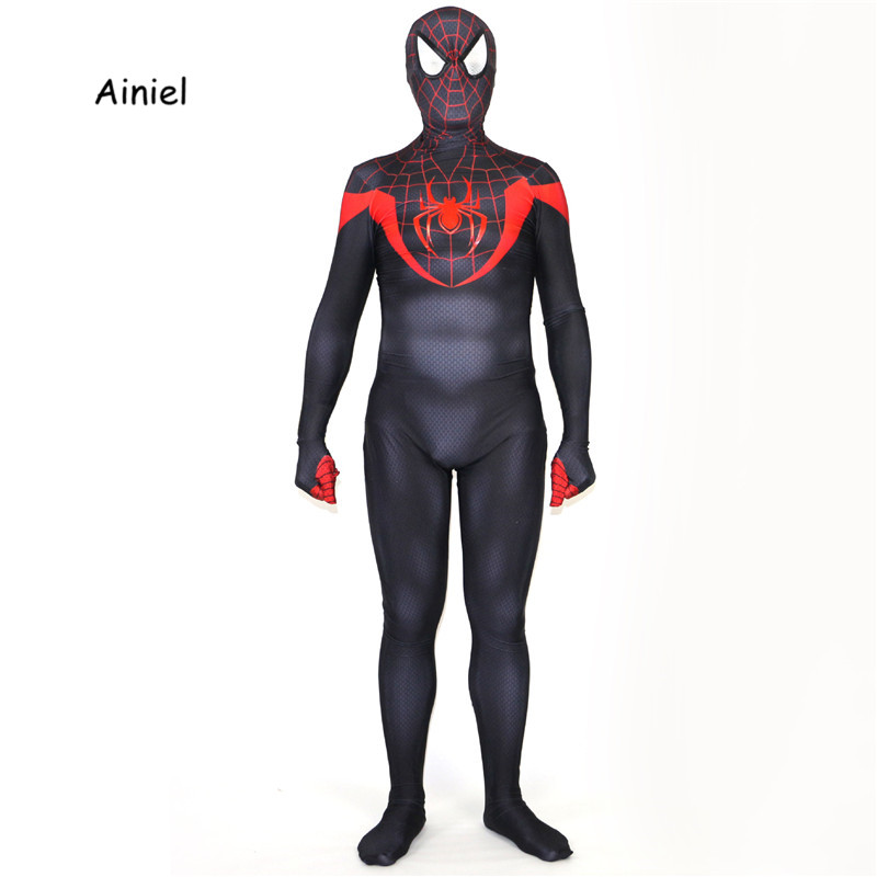 Ainiel Black Red Spiderman Costume 3D Print  Lycra Spandex Zentai Suit Halloween Cosplay Full Body Spider-man Superhero Costume