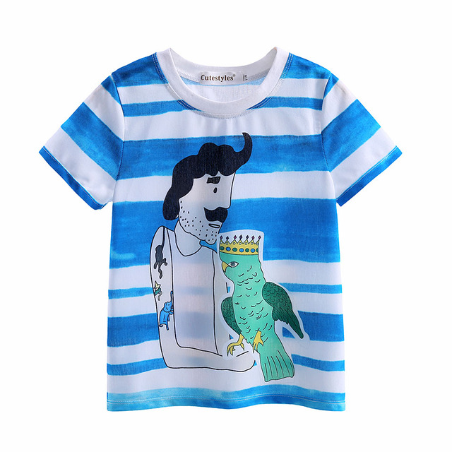 Pettigirl 2017 Fashion Kids Boys Summer Short sleeves T-Shirt Cartoon Blue Stripe 2017 Children Baby Tops Clothes BT90315-11L