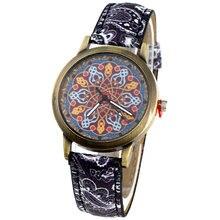 Gnova-Reloj de pulsera de cuarzo con flores indias para mujer, de moda étnica árabe, cuero de PU, Retro, A945