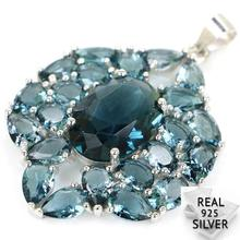 Guaranteed Real 925 Solid Sterling Silver 5.6g New Designed London Blue Topaz CZ Present Pendant 40x27mm