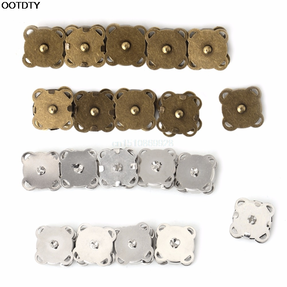 10PCS14/ 18mm DIY Magnetic Snaps Purse Clasp Closures Metal Button Bag Craft colorful pu leather strap for bag accessories handle with metal clasp for diy purse 10pcs lot