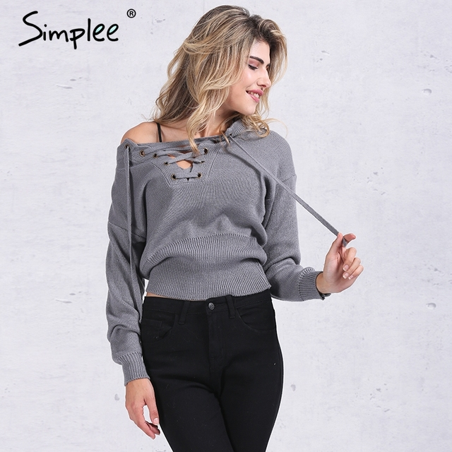 Simplee Apparel Lace up winter sweater women 2016 Casual loose belt ribbed top knitwear Sexy jumper Elastic hem pullover outwear