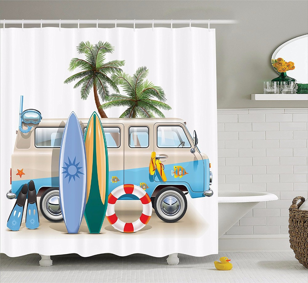 Surf Shower Curtain Hippie Classic Old Bus with Surfboard Freedom ...