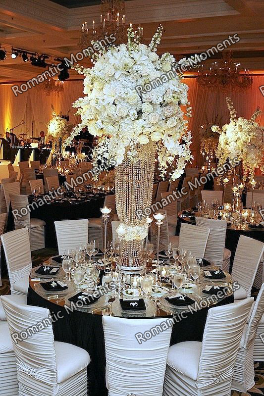 sliver or Gold acrylic bead strands tall acrylic crystal flower stand for wedding table