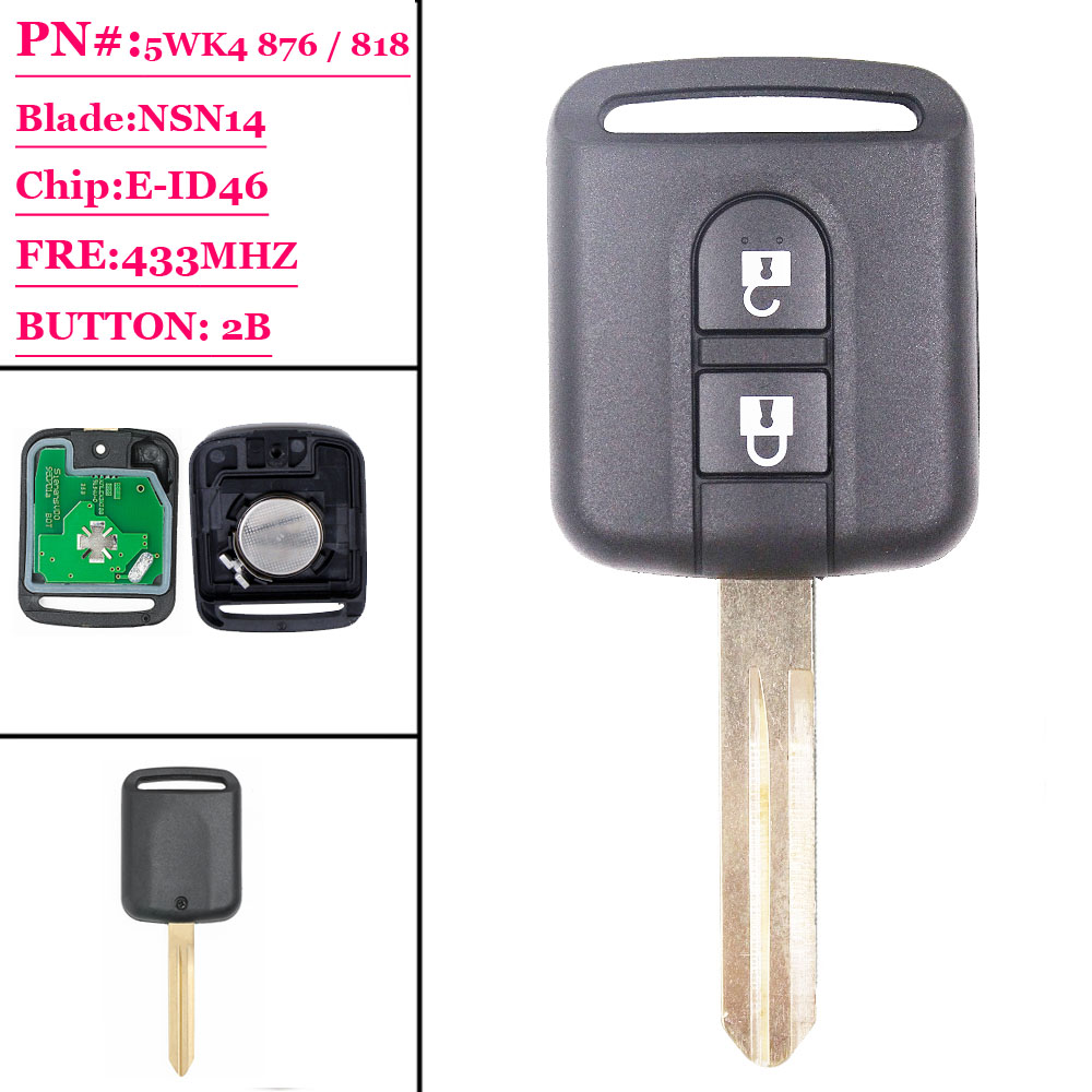 Free Shipping ( 1pcs)  Excellent Quality 2 Button Remote Transmitter Key Fob 2 Button 433MHz ID46 For Nissan X-trail Navara Micr