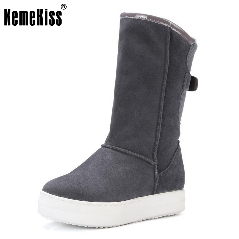 ФОТО Winter Real Leather Boots Thickened Fur Women Boots Short Ankle Snow Boots Lady Buckle Platform Footwear Women Shoes Size 33-42