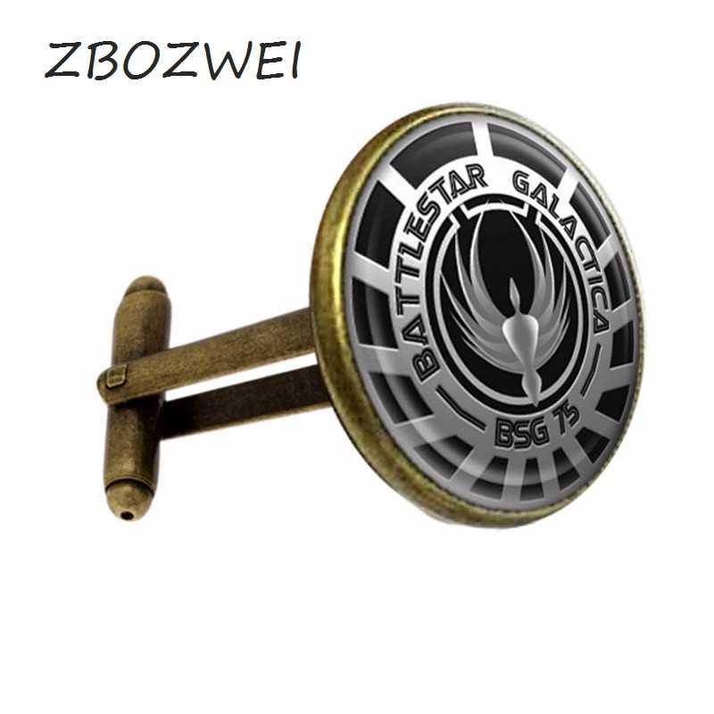 ZBOZWEI 2018 Battlestar Galactica Glass Dome Cufflink Silver Color Vintage Movie gift send Friend High Quality Cufflinks Jewelry