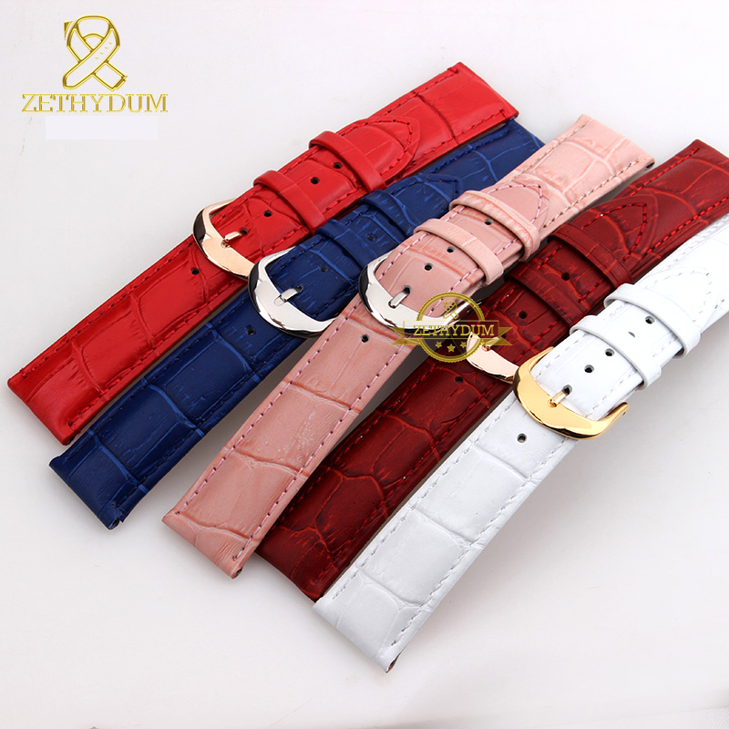 Image 5 - Genuine leather watch strap womens fashion bracelet  watchband wristwatches band multicolor 12 14 16 18 20mm pink blue red color-in Watchbands from Watches