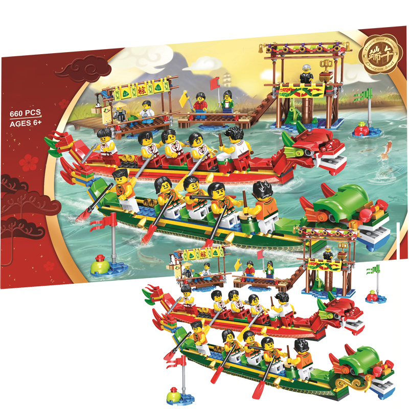 Dragon Boat Race Chinese Exclusive Bricks Chinese Festivals Building Blocks Toys Gifts Compatible Legoing 80103 brinquedosDragon Boat Race Chinese Exclusive Bricks Chinese Festivals Building Blocks Toys Gifts Compatible Legoing 80103 brinquedos