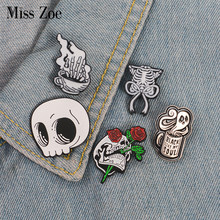Skeleton enamel pin Skull coffee ghost rose badge brooch Lapel pin Denim Jean shirt bag Gothic Punk Jewelry Gift for Friends(China)