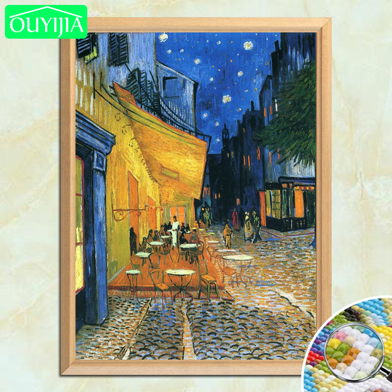 """Van Gogh Famous Painting """"Cafe Terrace at Night"""" 5D DIY Diamond Painting Full Square Diamond Embroidery Rhinestones Picture(China)"""