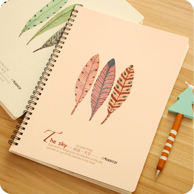 large size spiral page notebook student stationery thickness note books eyeshield paper feather pattern fashion simple design wz in notebooks from office