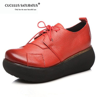 Cuculus New Retro Genuine Leather Shoes Platform Wedges Women Shoes Comfortable Breathable Fashion Shoes High Heels 6 Cm 1845