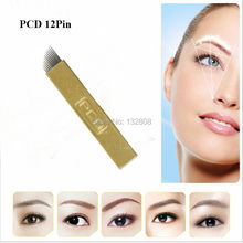 50 pcs PCD 12 Pin Permanent Makeup Eyebrow Tattoo Blade Microblading Needles For 3D Embroidery Manual Pen Free Shipping