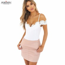 SEBOWEL 2017 Summer Women Sexy Lace Bodysuits White Off Shoulder Straps Backless Bodycon Jumpsuits Patchwork Bodysuit With Zip