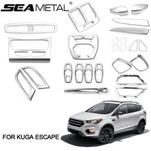 For Lhd Ford Kuga Escape 2018 2017 2016 Abs Chrome Stick Rearview Mirror Cover Decoration Accessories Car Styling