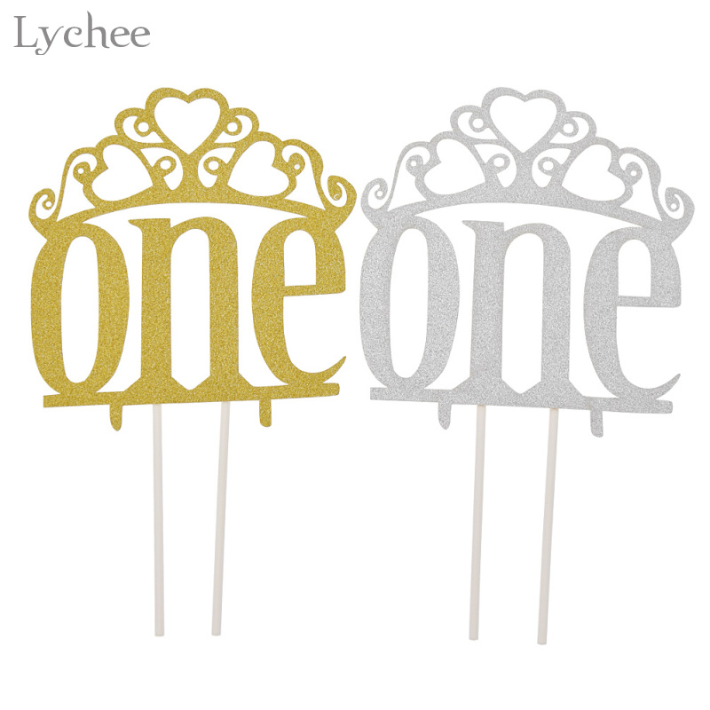 Lychee 1pc Glitter Crown One Cake Topper One Birthday Party Decoration Wedding Baby Shower Cake Decor New Year Party Supplies
