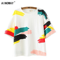 New Summer Fashion Women Solid Pink Punk Style O Neck Short Sleeve T Shirt Printed Cute