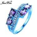 JUNXIN Oval Design Punk Purple Amethyst Ring Blue Gold Filled Vintage Wedding Rings For Men And Women Fashion Jewelry