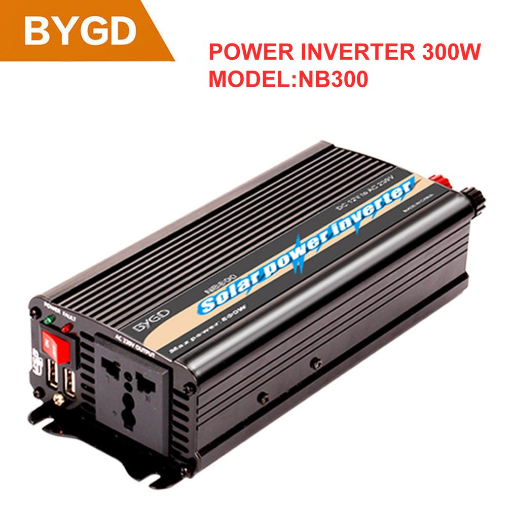 BYGD 12V to 220V Car Solar Power Inverter Voltage Transformer Dual USB Modified Sine Wave Power InverterBYGD 12V to 220V Car Solar Power Inverter Voltage Transformer Dual USB Modified Sine Wave Power Inverter