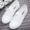 Tassel Loafers in Women's Flats Shoes Women British Retro Pu Leather White Shoes Flats Round-Head Soft Leather Shoes Woman