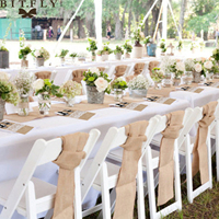 Rustic Wedding Decoration Burlap Chair Sashes Jute Tie Bow Burlap Table Runner Burlap Lace Tableware Pouch