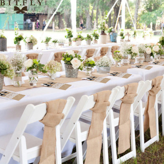 Rustic Wedding Decoration Burlap Chair Sashes jute Tie Bow burlap ...
