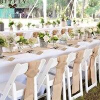 Rustic Wedding Decoration Burlap Chair Sashes jute Tie Bow burlap table runner Burlap Lace Tableware Pouch Banquet Home decor