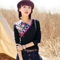 Alta Qualidade Estilo Nacional Chinesa do Outono do Verão Das Mulheres T-shirt Bordado Fino T Camisas de Manga Comprida Feminina Encabeça Tee JA2313