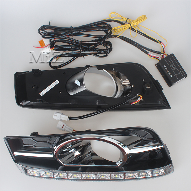 12V car LED Daytime Running Lights Turn Signal and Dimming style Relay DRL For chevrolet cruze 2009 - 2012 With Fog Lamp Hole turn off and dimming style relay led car drl daytime running lights for ford kuga 2012 2013 2014 2015 with fog lamp