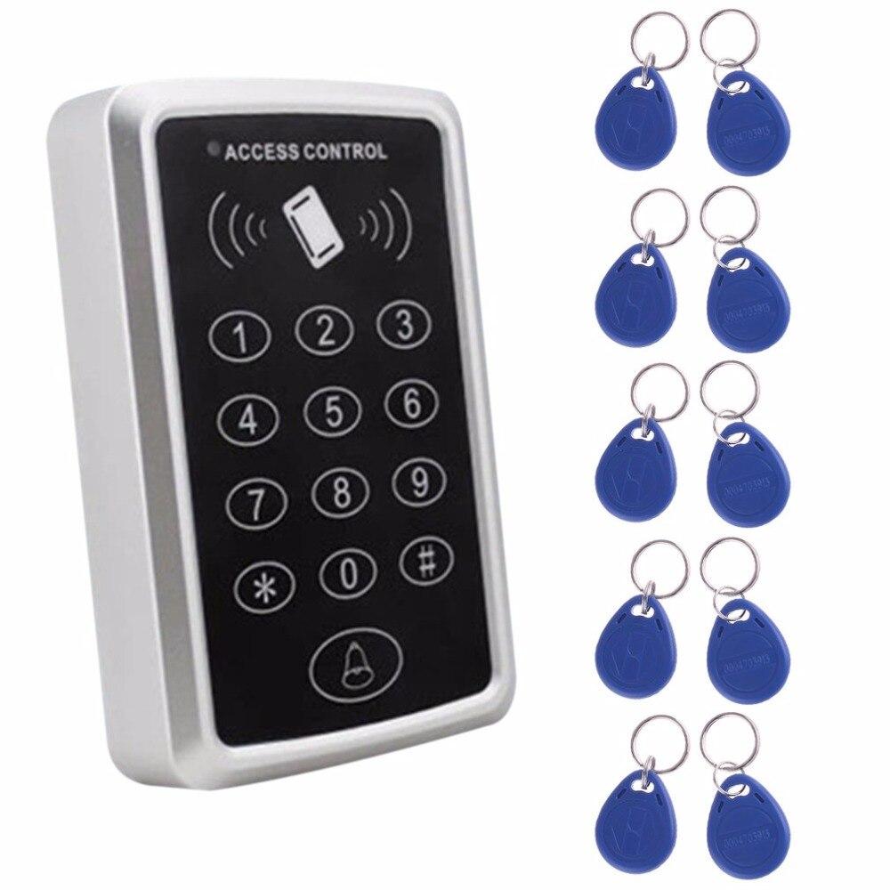LESHP RFID Proximity Card Access Control System RFID/EM Keypad Card Access Control Door Opener+10 rfid tag metal rfid em card reader ip68 waterproof metal standalone door lock access control system with keypad 2000 card users capacity