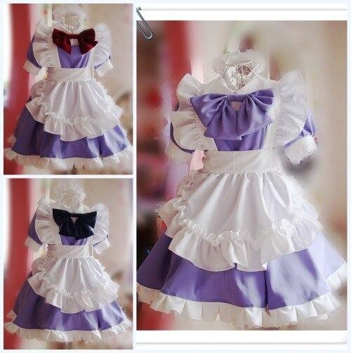 Women Fashion Doll Collar Retro Maid Dress Maid Outfit Cosplay Costume Dress