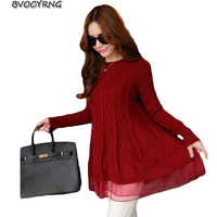 New Spring Fall Winter Pullover Loose Knit Women Round Collar Long Sleeve Korea Long Knit Sweater