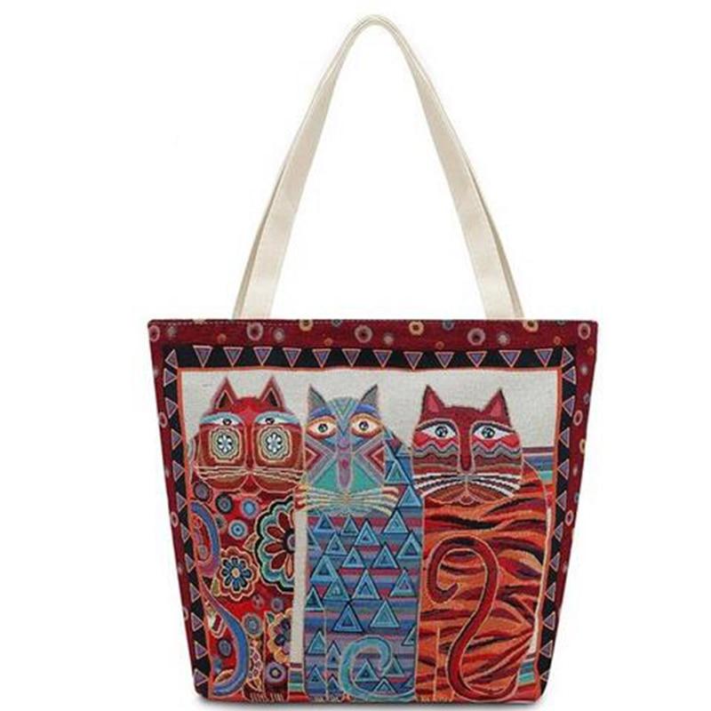 Cats Clutch Handbag 2017 Women Bag Canvas Shoulder Bag Vintage Embroidery Female Shopping Bag Travel Summer Beach Bag For Girls