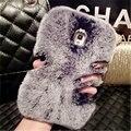 Bling de moda de lujo de piel de conejo caliente cubierta de la caja suave para el iphone 4s 5s 5c 6 6 s plus 7 7 plus