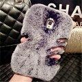 Bling moda de luxo pele de coelho quente macio tampa do caso para o iphone 4s 5s 5c 6 6 s plus 7 7 plus