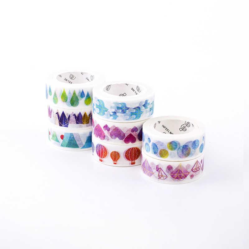 Радуга Washi клейкие ленты много декоративный клей маскирующая бумага ленты DIY липкий декор Скрапбукинг Kawaii канцелярские принадлежности 1 шт.