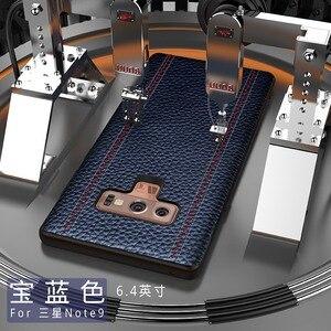 Image 2 - Echtes Leder Luxus Fall Für Samsung HINWEIS 9, HINWEIS 8, S9 Plus, s8 Plus Rindsleder Volle Schutzhülle Unterstützung adsorption magnet