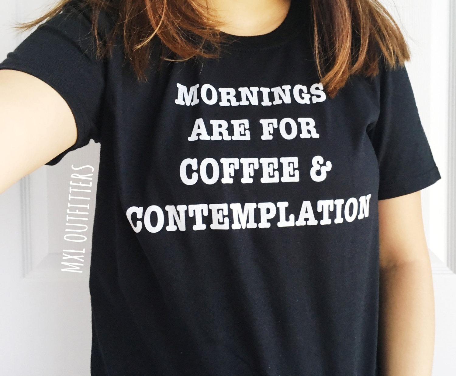 Us 110 Pudo Xhm Mornings Are For Coffee And Contemplation T Shirt Women Harajuku Tumblr Saying Coffee T Shirt Womens Clothing Tee Shirt In T Shirts