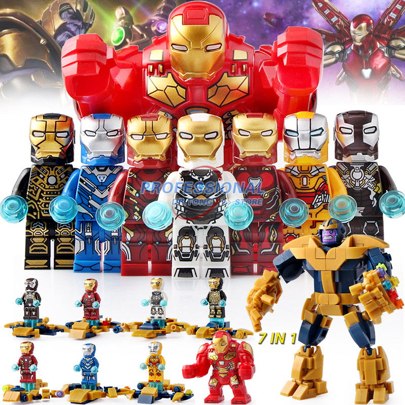 80Pcs/Lot Super Heroes Avengers Endgame Iron Man 7 In 1 Marvel Building Blocks Action Figures children Gift Toys DLP9093