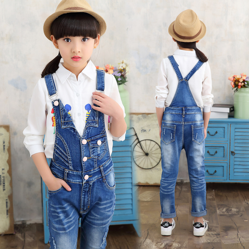 Girls Jeans Overalls For Girl Denim 2017 spring Pocket Jumpsuit Bib Pants Children's hole Jeans Baby Overall For Kids 3-12 Years все цены