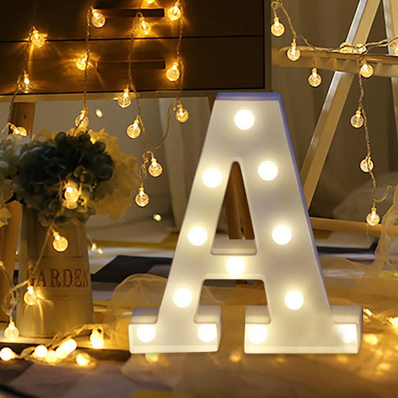 Alphabet Letter Lights LED Light Up White Plastic Letters Standing Hanging May23 Drop Shipping