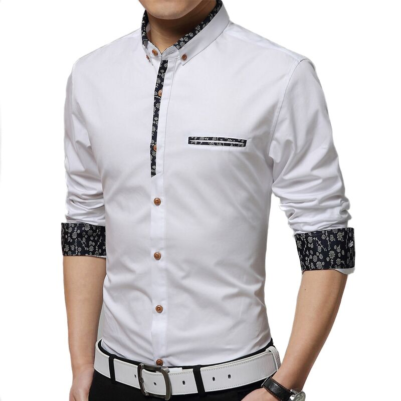 3d339c73ed19 Detail Feedback Questions about Shirt men 2019 new men Slim casual long  sleeved shirt solid color floral fashion hit color shirt large size men M  4XL on ...