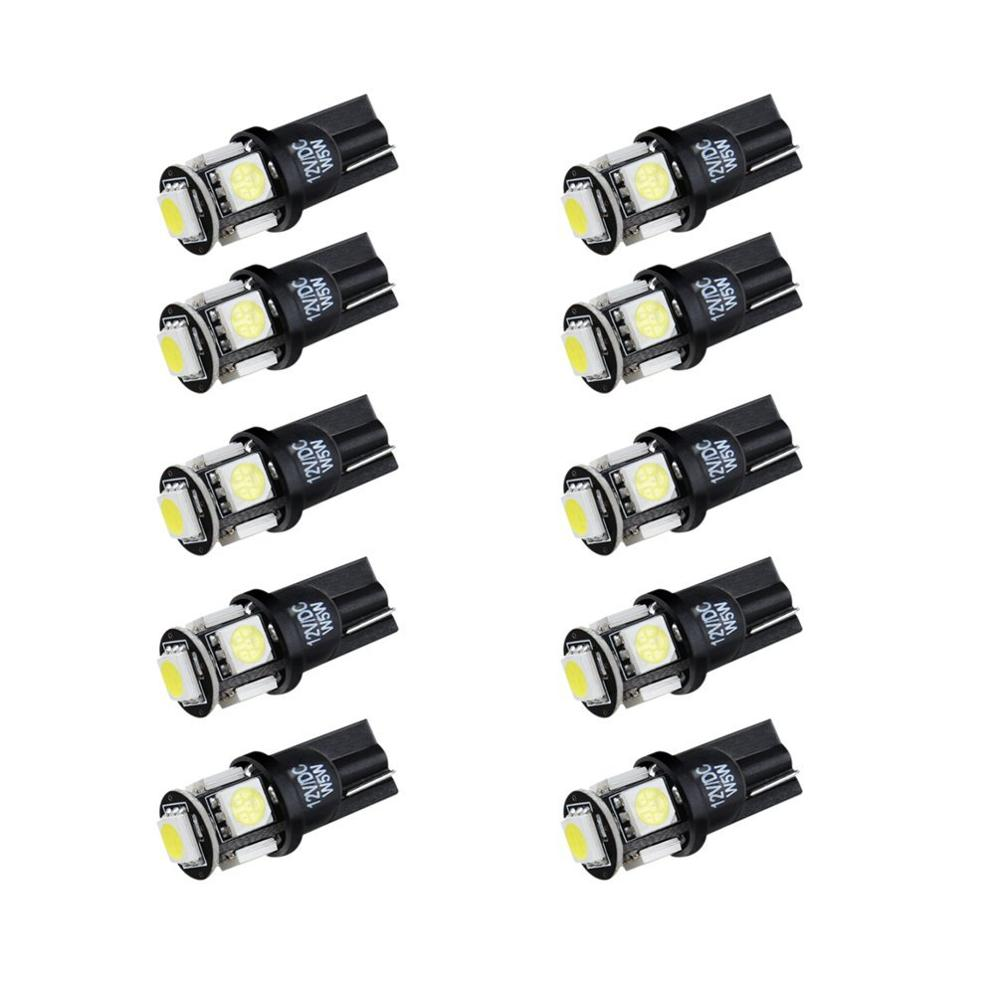 SANVI 10x CANBUS ERROR FREE White T10 5SMD 5050 LED Light Bulbs 194 168 Exterior Indicator Lamp 4x canbus error free t10 194 168 w5w 5050 led 6 smd white side wedge light bulb