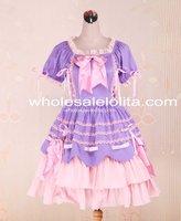 New Light Purple And Pink Cotton Bandage Ruffle Bow Sweet Lolita Dress