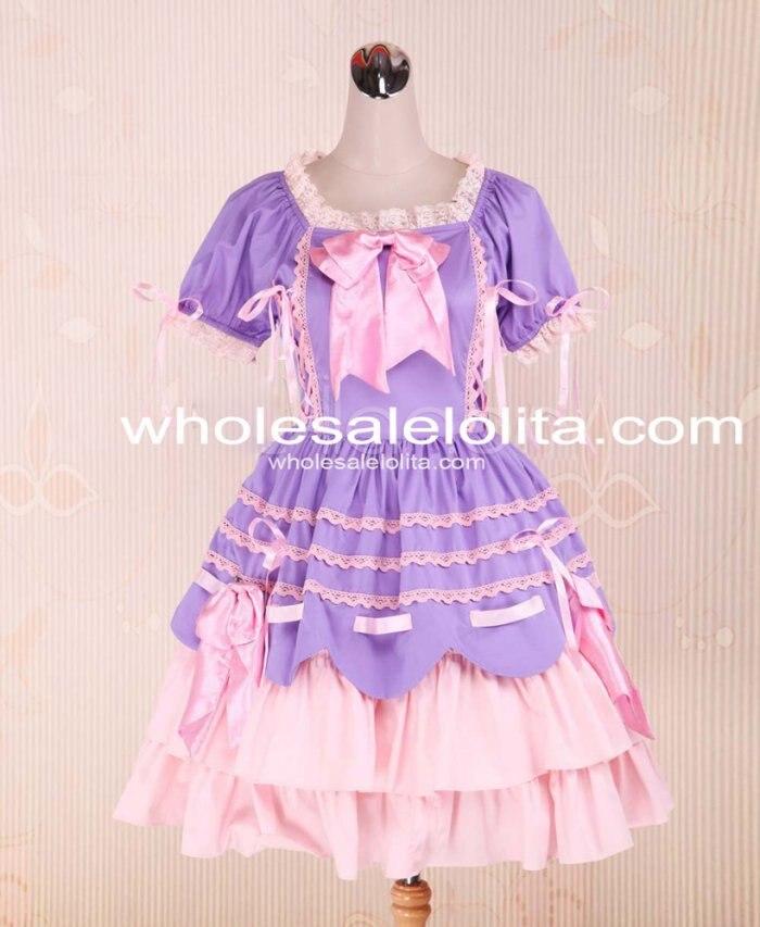Nouvelle Lumière Pourpre Et Rose Coton Bandage À Volants Bow Sweet Lolita Robe