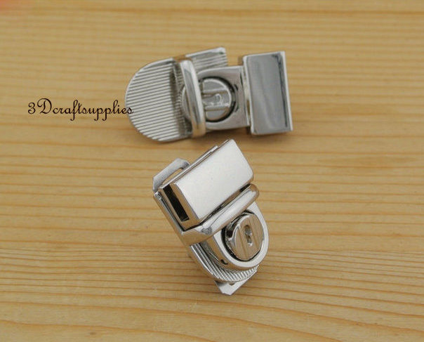 purse lock wallet Thumb latch tongue clasp silver 30 mm x 20 mm N19